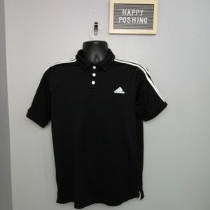 Adidas Junior Boys XL Sz 18 Black Polo Shirt
